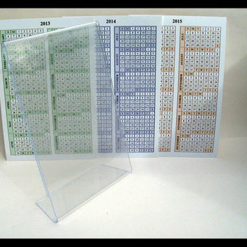 "2013, 2014, 2015 year-at-a-glance desk calendars with 4""x6"" acrylic frame"