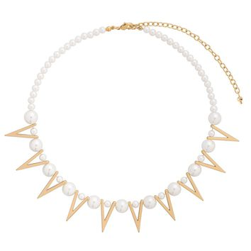Gold plated statement necklace with cream colored pearls