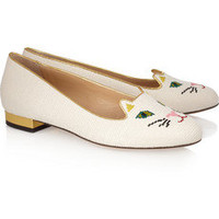 Charlotte Olympia | Kitty embroidered woven cotton slippers | NET-A-PORTER.COM