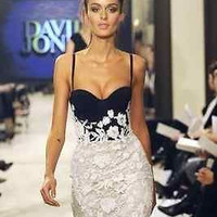 Celebrity bandage dress party strapless Black White evening Club lace XS S M L