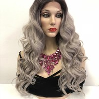 Gray Ombre' Hair Swiss Lace Front Wig   Volume Curl Layered Hair   4x4 Multi Parting   Covergirl