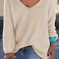 Solid Color V-Neck Loose Fit Sweater