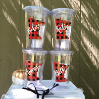 Personalized Tumbler sets, Buffalo plaid state shape, Bridal party gifts, Fall wedding favor