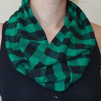 Plaid Infinity Neck Scarf Green Black Buffalo Check Jersey Knit Light Handmade
