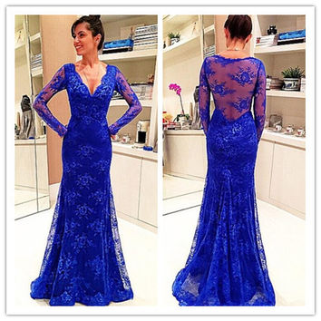 V-neck Mermaid Prom Dresses,Blue Prom Dress,Long Evening Dress