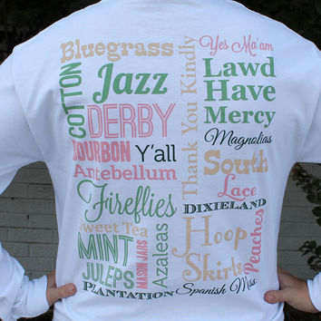 Southern Sayings Long Sleeve Tee in White by Lauren James
