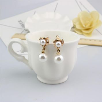 Korean Accessory Stylish Diamonds Pearls Earrings [11337093959]