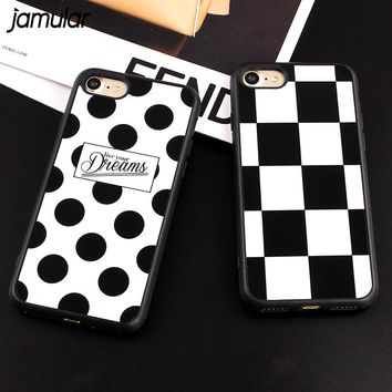 JAMULAR Mirror Cover For iphone 8 7 Plus Silicone Grid Polka Dots Silicone Case For iphone 6 6s Plus 5 5s SE Phone Shell Fundas