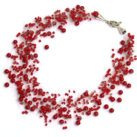 Dark Red Necklace. Bridesmaid Necklace. Wedding Necklace. Beadwork