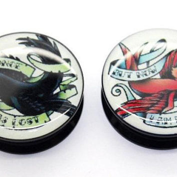 Crow Koi Pair Flesh Plug Double Flare Ear Tunnel Stretcher