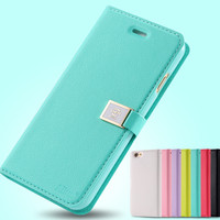 DER Ailun Brand Candy Leather Case For Apple Iphone 6 4.7'' I 6 Wallet With Card Holder & Strap Mobile Phone Bag Sleeve 4.7inch