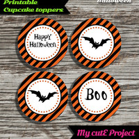 Happy Halloween - Cupcake toppers - Instant Download - Party printable - Party favor - Candy Bar - 5 cm / 2""