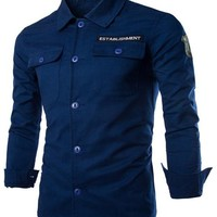 Letter Embroidered Slimming Shirt Collar Long Sleeve Fashion Cotton Blend Shirt For Men