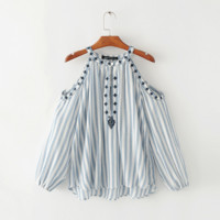 Women's new fashion strapless embroidery round neck long sleeves stripe top shirt