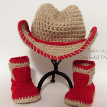 crochet cowboy set , handmade , cowboy hat , cowboy boots , cowgirl , diaper cover , photo prop