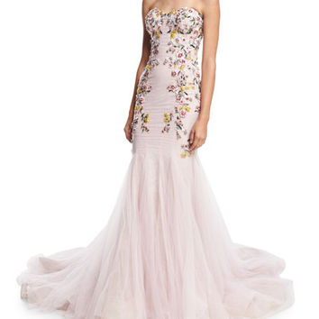 Marchesa Strapless Embroidered Mermaid Gown, Blush