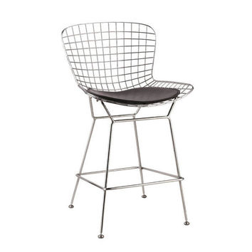 Chrome Wire Counter Stool | Black