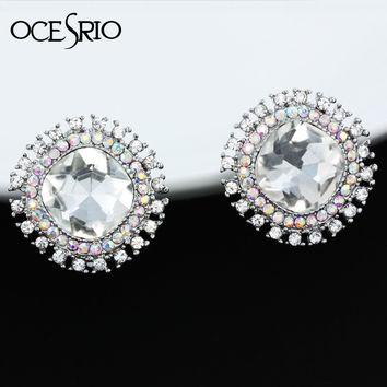 OCESRIO No Hole Big Crystal Ear Clips Jewelry flower silver clip on earrings no pierced round pendientes mujer ers-h13