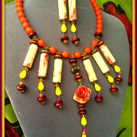 Ethnic Collar Pumpkin Orange Yellow Necklace & Earrings Big Tribal Chunky Jewelry, Red  Lemon Crystal Statement Choker Funky Wood Boho Beads