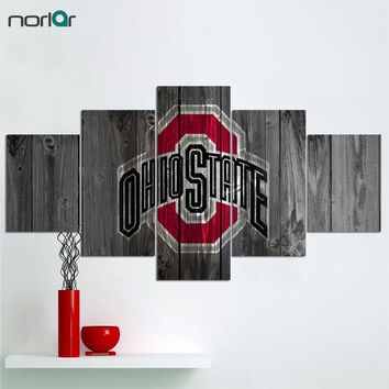 5 Pcs HD Print Canvas Painting Ohio State Buckeyes Logo Modern Home Wall Decor Painting Canvas Art Wall Picture For Home Decor