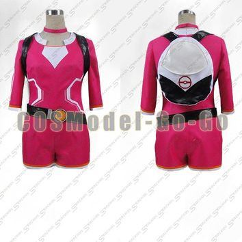 Japane Anime  Go Team Mystic Trainer Red Blue Two Version Cosplay Costume Halloween Uniform Full Set Custom-madeKawaii Pokemon go  AT_89_9