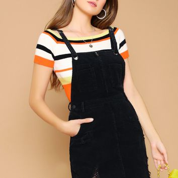 Distressed Raw Hem Corduroy Overall Dress