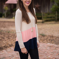 Simply Frilling Top, Beige-Navy