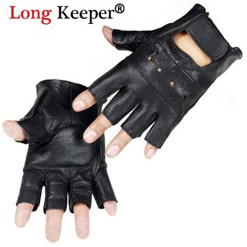 Long Keeper Men Gloves High Quality Genuine Leather Gloves Half Finger Anti Skid Fitness Sheep Leather Fingerless Gloves G232