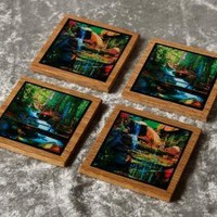 Fantasy Bridge Waterfall oak coaster set of 4 by NicolesVisions