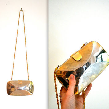 Vintage Gold Evening Bag Hard Case// Vintage Gold Clutch Metal Hard Box Clutch Formal Bag
