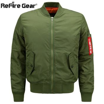 Trendy ReFire Gear MA1 Men Military Style Padded Pilot Bomber Jacket Air Force Army Tactical Jacket Plus Size Casual Warm Winter Coat AT_94_13