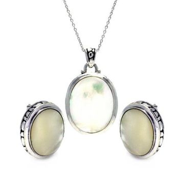 Sea Of Diamonds Mother of Pearl Cubic Zirconia CZ .925 Sterling Silver Necklace Pendant Earrings Jewelry