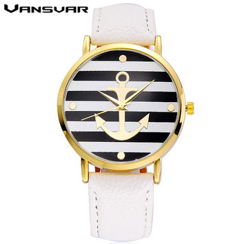 Vansvar Brand Fashion Leather strap Anchor Watches Casual Women Wristwatch Luxury Quartz Watch Relogio Feminino Gift 898