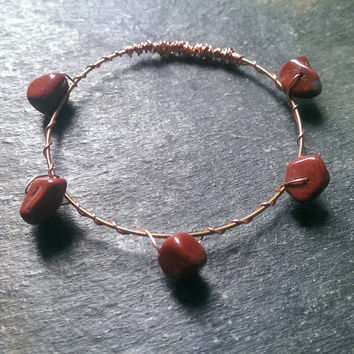 Small Guitar String Bangle Bracelet Copper Wire Wrapped with Red Stones