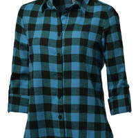 LE3NO Womens Boyfriend Plaid Flannel Shirt (CLEARANCE)
