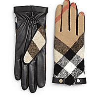 Burberry - Checked Leather Gloves - Saks Fifth Avenue Mobile