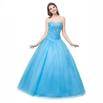 Princess Dresses Ball Gowns Coral Green Blue Girl Gowns Crystal Lace-up Floor Length Prom Dresses