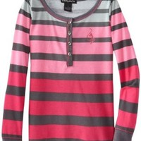 Baby Phat - Kids Big Girls' Stripe Henley, Pink Berry, Medium