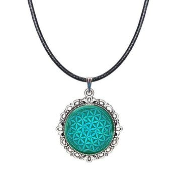 Green purple blue Flower Of Life necklace Om flower pendant necklace mandala jewelry Yoga necklaces Zen jewelry choker necklace 1