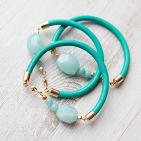 New 2013 Collection: ONE Light Blue Amazonite on Teal Leather Cord Bracelet by pardes israel