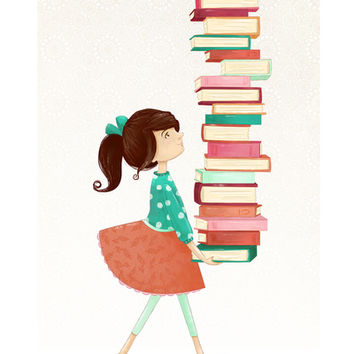 Library Girl Stretched Canvas by Stephanie Fizer Coleman | Society6