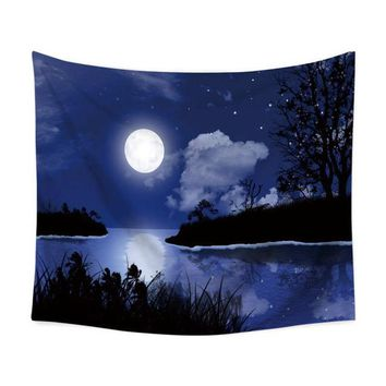Peaceful White Moon Tapestry