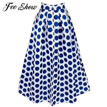 2017 Feeshow New Women Chiffon Maxi Polka Dot Skirts Pleated Midi Long Skirts Summer Fashion Women Empire Long Maxi Skirts