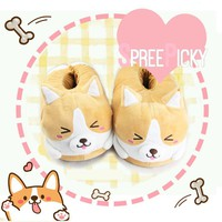 Corgi Kigu Plush Couple Slippers SP1711120