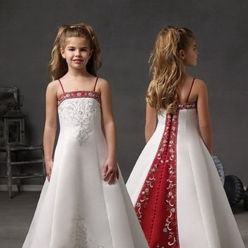 red and white christmas embroidery flower girl dresses spaghetti straps long children flower girl pageant dresses