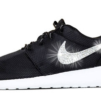 Nike Roshe One + Swarovski Crystals - Black/White