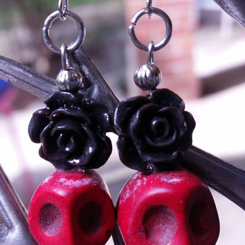 Red skull bead earrings with black roses day of the dead earrings
