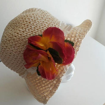 Flower Crocheted Cream Paper Hat, Woman's Woven Vintage Boho Sunhat with Red Flower, Ladies Straw Hat