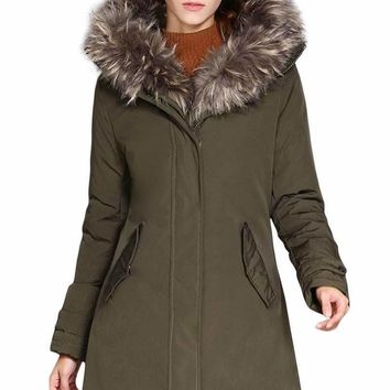 Fur Trim Hooded Army Green Parka Storm Coat