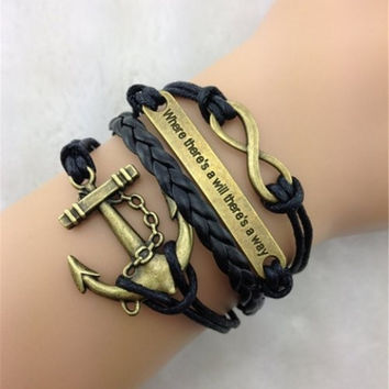 Retro Anchor Embellished Multilayered Woven Wrap Charm Bracelet For Men and Women Wonderful Christmas Gift = 1843175236